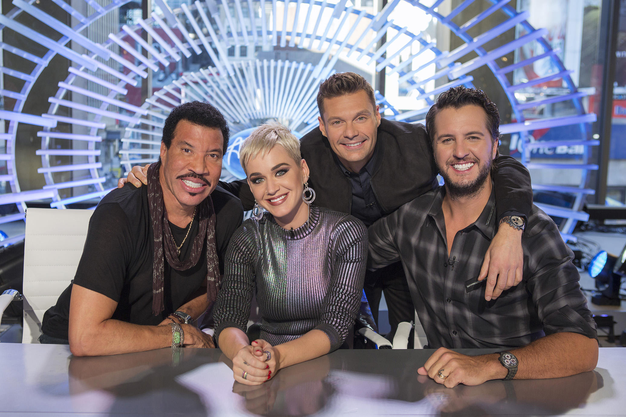 Lionel Richie, Katy Perry, Ryan Seacrest and Luke Bryan, American Idol | Photo Credits: Eric Liebowitz, ABC